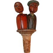 Figural Mechanical Bottle Stopper Wood Carving Top Man & Woman Kissing Couple