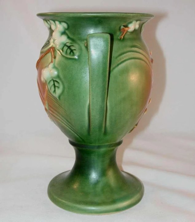 Rare Roseville Pottery Late 1940s Snowberry Pattern Trophy Vase