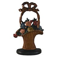 Vintage Cast Iron Doorstop Colorful Flowers Hubley's French Basket Design