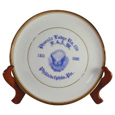 1912 Masonic Commemorative Plate Phoenix Lodge No. 130 Centennial Philadelphia Pennsylvania