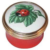 Halcyon Days Enamels England Enameled Box Original Gift Box Lady Bug Green Leaf