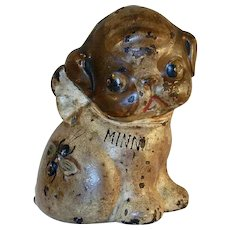 Vintage Cast Iron Still Bank Puppy with Bug on Back Puppo Minnie by Hubley