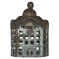 Old Small Cast Iron Still Penny Silver Domed Bank Building With Golden Roof