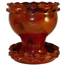 1987 Manganese Glazed Redware Flowerpot and Saucer by Lester Breininger