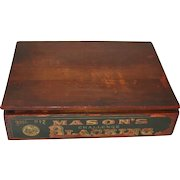 Antique Display Wood Box Mason Challenge Shoe Blacking Colorful Black Americana Graphics