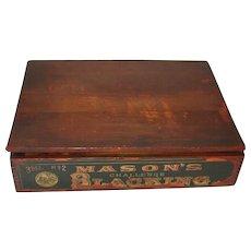 Antique Display Wood Box Mason Challenge Shoe Blacking Colorful Black Americana Graphics