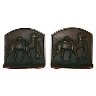 Vintage Bronzed Cast Iron Bookends Bedouin Leading Camel Pyramids & Palm in Background