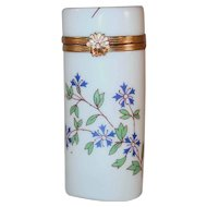 Vintage Cylindrical Shaped  Hand Painted Porcelain Box By Bernardaud Limoges France