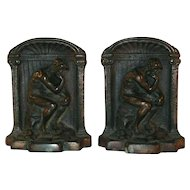 "Vintage Bronzed Cast Iron Bookends Auguste Rodin's ""The Thinker"""
