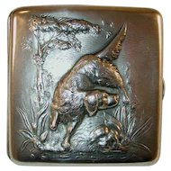 Vintage La Pierre Manufacturing Co. Sterling Silver Cigarette Case Repousse Setter Dog on Front Monogrammed on Back