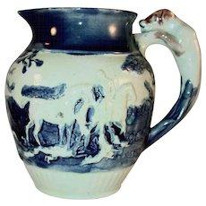 Antique Glazed Earthenware Bulbous Molded Creamer Raised Fox Hunt Scene Hound Dog Handle Marked Wedgwood; BHP; 30