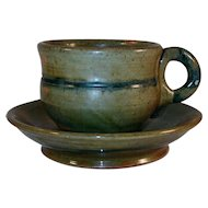 Rare 1938 Redware Cup and Saucer Mottled Green and Blue Glaze By Isaac Stahl Powder Valley Pennsylvania