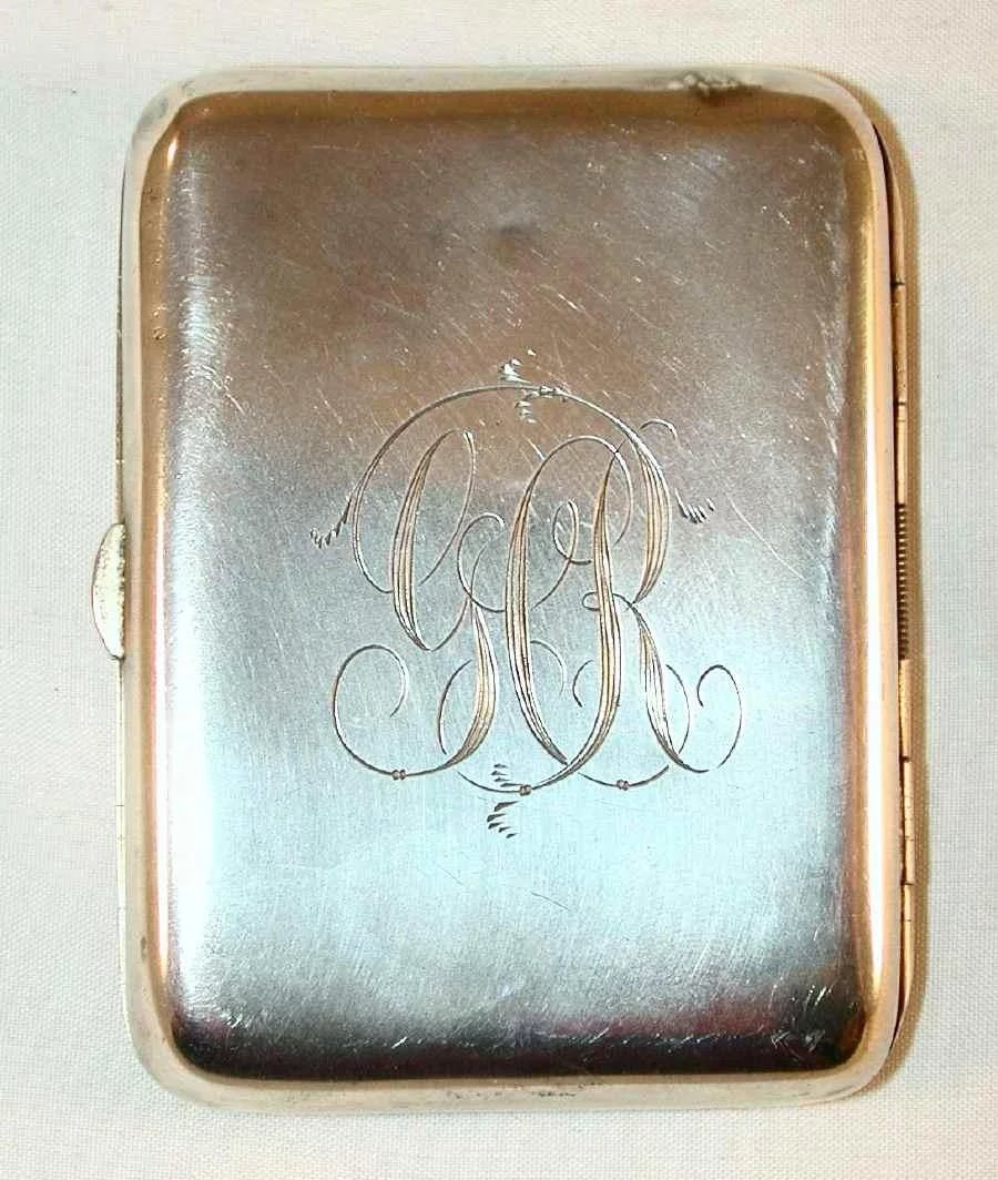 vintage sterling silver cigarette case duck hunting scene on front   giamer antiques and
