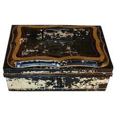 Old Toleware Spice Box Set Black with Gold and Red Highlights