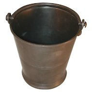 Unusual Vintage Pewter Bucket with Handle Marked RM Over Fruits & Serpent