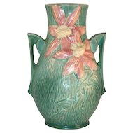 Beautiful Roseville Pottery Mid 1940s Green Clematis Vase with Handles 108-8""