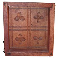 Antique Carved Wood Rectangular Box Butter Mold Dovetailed on Two Corners With Two Hooks