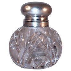 Old Crystal Glass Ball-Shaped Inkwell Hinged Sterling Silver Lid