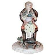 Beautiful Porcelain Figurine Tiziano Galli Capodimonte Italy Young Worker or Knitter Sculpture