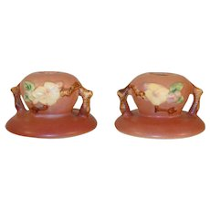"""""""Rare"""" Roseville Pottery Pair of Pink Apple Blossom Candlestick Holders 351"""