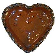 1987 Foltz Redware Glazed Heart Shape Bowl Color Dark Brown Pinched Mottled Edge