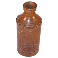 Old Vitreous Stone Bottle By J. Bourne & Son Patentees Denby Pottery London England
