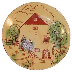 """1986 Breininger 7"""" Redware Yellow Pie Plate Sgraffito Decorated H. Zeller House"""
