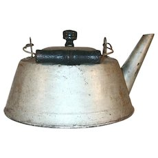 Vintage Tin Kettle Wooden Swing Handle, Lid with Finial & Straight Tubular Spout