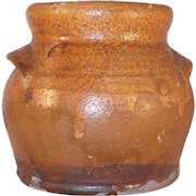 Antique Redware Bean Pot Yellow and Brown Colored Matte Glaze Lug handles Missing Lid