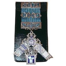 1973 Past Master Masonic Medal Ribbon Enamel & Sterling Silver Boyertown PA Lodge No. 741 F&AM In Leather Holder William Lehmberg & Sons Philadelphia