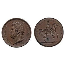 Small 1842 Bronze Medal  High Relief King Louis Philippe 1st Duke of Orleans His Son on Horse Back Armies of the Prince