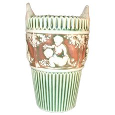 """Beautiful Roseville Pottery Circa 1915 Donatello Pattern 6"""" Tall Vase with Hanging Loops"""
