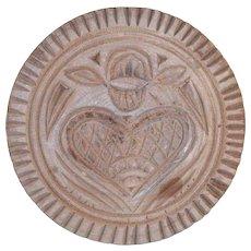 Vintage Lathe Turned Carved Wood Heart Design Toothed Border Butter Print