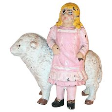 Vintage Cast Iron Still Bank Young Blond Girl in Pink Dress Mary & Little Lamb