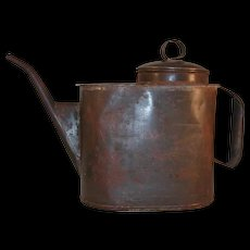 Antique Pennsylvania Railroad Large Tin Oil Can Lid, Applied Handle and Spout