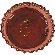 1978 Redware Brown Colored Pie Plate Glazed with Slip Decoration Andy Loercher