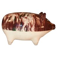 Vintage Pottery Still Penny Bank Two Tone Pig Standing on All Four Marked 120 E