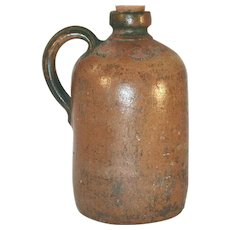 Antique Stoneware Jug Salt Glazed and Undecorated Brown and Gray Coloring