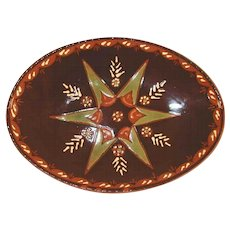 2003 Brown Glazed Oval Redware Plate Sgraffito Green Star by Lester Breininger
