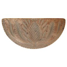 Antique Pennsylvania Carved Wood Half-round Pineapple Design Butter Print Toothed Border and Knob Handle