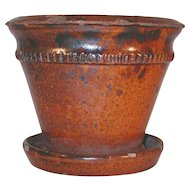 Late 19th Century Antique Glazed Redware Flower Pot Attached Saucer By LK Tomlinson of Berks County PA