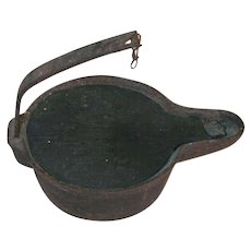 Antique Primitive Cast Iron Betty Whale Oil or Fat Lamp Flat Base, Wick Channel and Hanging Arm