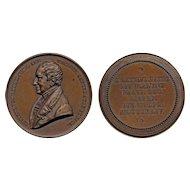 1844 Amsterdam Netherlands Bronze Medal Hieronymus de Vries Bust Van der Kellen