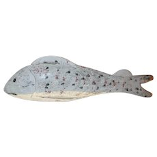 Vintage Weighted Carved Wood and Metal Painted Fish Decoy Colorful Perch