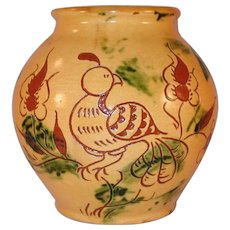 1988 Yellow Glazed Redware Round Jar Sgraffito Distelfink & Tulip L. Breininger