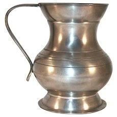 Vintage Pot Belly Pewter Lidless Tankard or Mug Strap Handle England Hallmarked