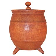 Vintage Hollowed and Turned Wood Barrel with Three Feet  and A Lid with Central Finial