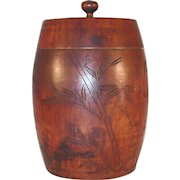 Vintage Wood Humidor Having Lid with Central Finial and Carved Bamboo Decoration