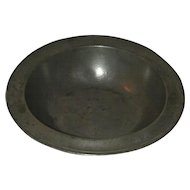 Antique Pewter Bowl Wide Flat Rim Shaped Edge Standing Angel Mark