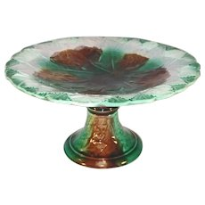 "Vintage 9"" Majolica Cake Stand Raised Leaves Design Brown Green and White Colors"